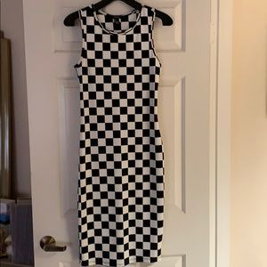 Forever 21 checkered print jersey dress